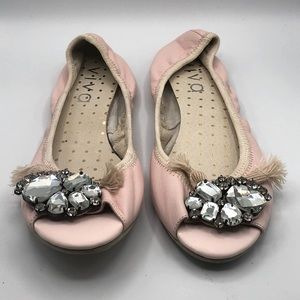 PINK FAUX LEATHER OPEN TOE BALLET FLAT WITH JEWELS